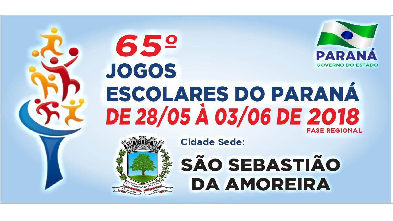 65º JOGOS ESCOLARES - FASE REGIONAL (28/05 a 03/06) SERÁ SEDIADO EM SÃO SEBASTIÃO DA AMOREIRA