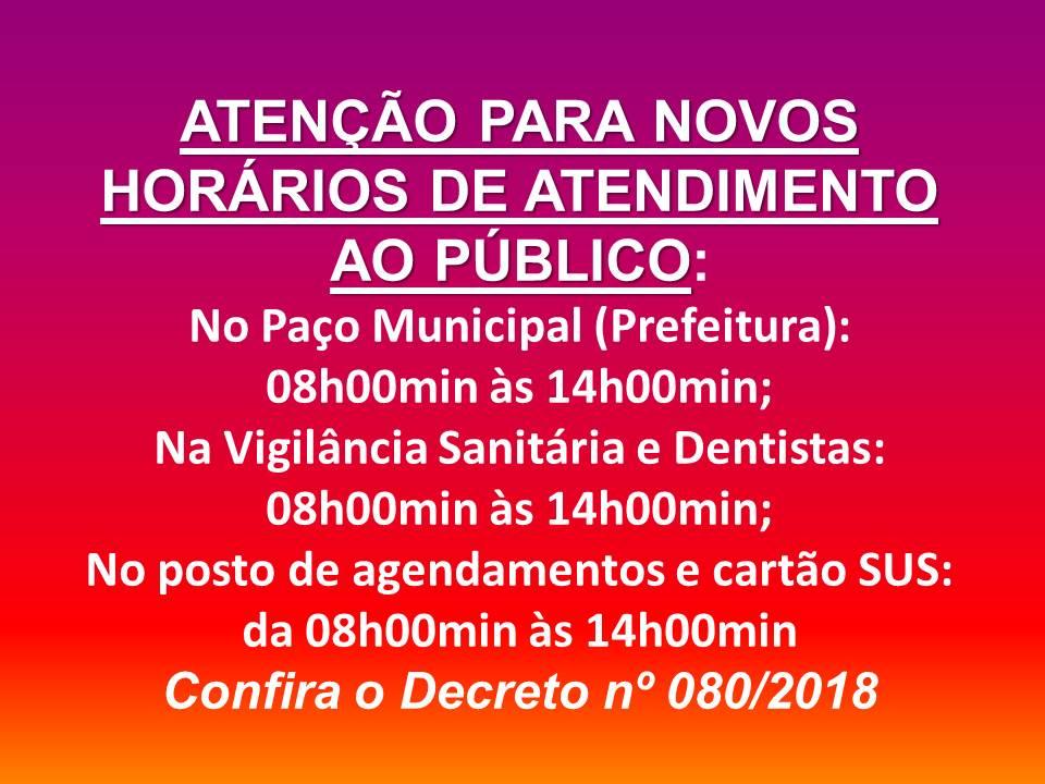 ATENÇÃO PARA NOVOS HORÁRIOS PARA ATENDIMENTO AO PÚBLICO