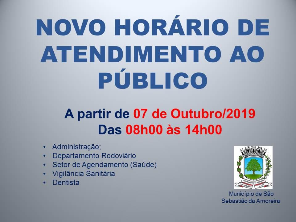ATENÇÃO: NOVO HORÁRIO PARA ATENDIMENTO AO PÚBLICO!!!