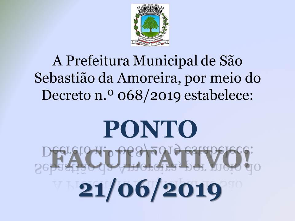 Administração Pública estebelece Ponto Facultativo em 21/06/2019!