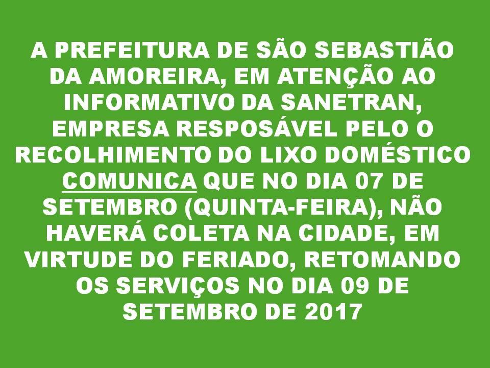 COMUNICADO IMPORTANTE - COLETA DE LIXO!!!!!