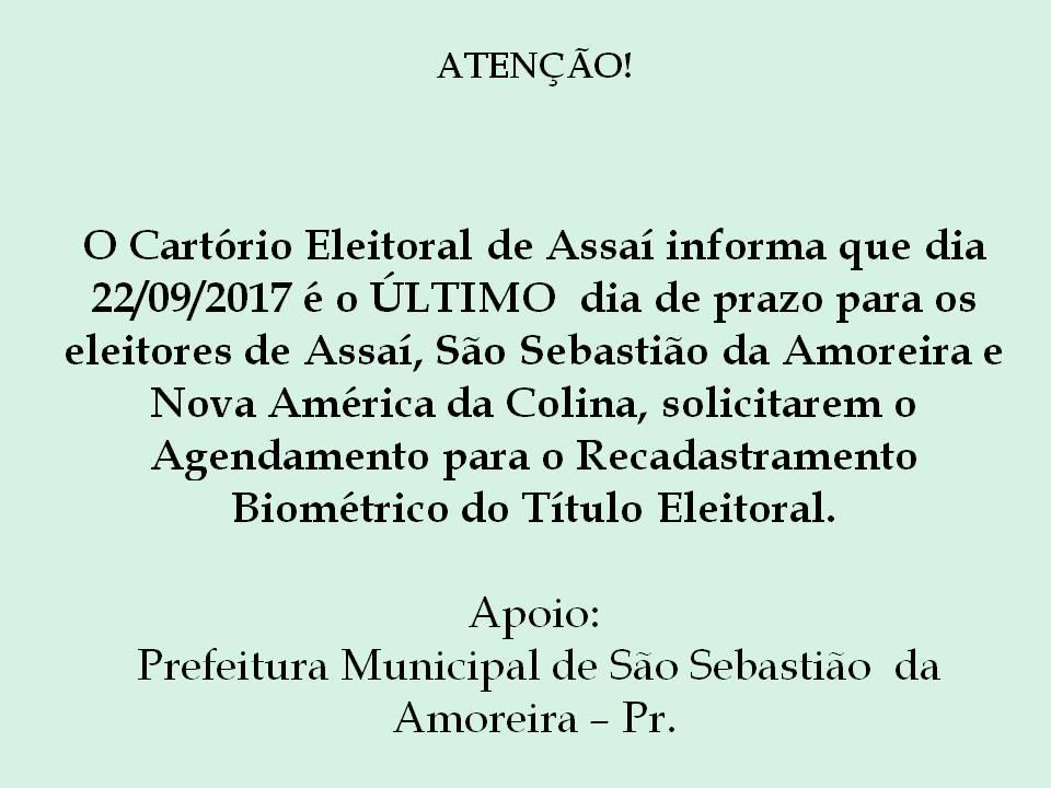ATENÇÃO - RECADASTRAMENTO BIOMÉTRICO!!!!